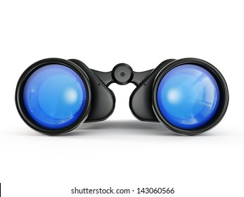 black binoculars isolated on a white background