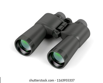 Black binoculars on white background, 3D illustration