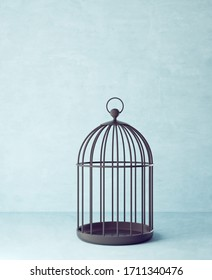 black bird cage isolated on a blue. 3d illustration