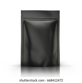 black blank 3d rendering zipper pouch for design element use, isolated white background side view
