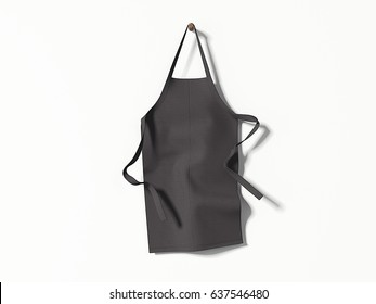 Black blank apron hanging on bright wall. 3d rendering