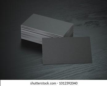 Black blank business cards mockup on black wood table background, 3d illustration