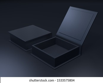 Black blank cardboard box on a dark background. Mock up template. 3d rendering.