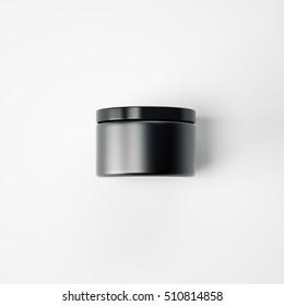 Black blank cream package on a white floor. 3d rendering