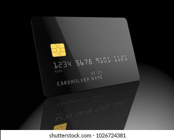 Black blank credit card, on black background. Empty template. 3D illustration.