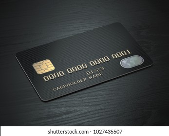 Black blank credit cards mockup on black wood table background. 3d illustration