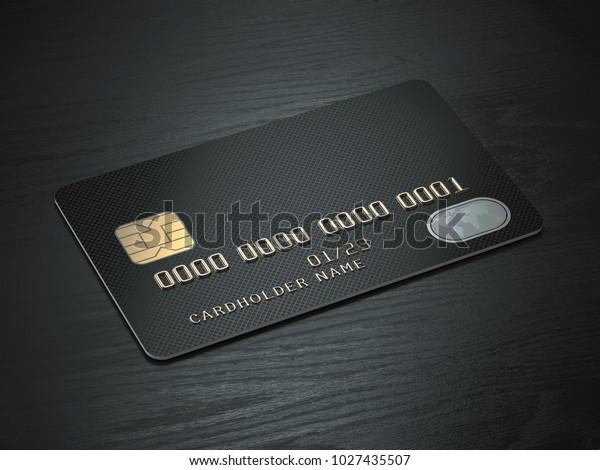 Black blank credit cards mockup on black wood table background. 3d illustration