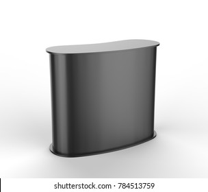 Black blank curved exhibit promotional counter advertising POS POI PVC booth, Retail Trade Stand Isolated on the white background. Mock Up Template For Your Design. 3D illustration.