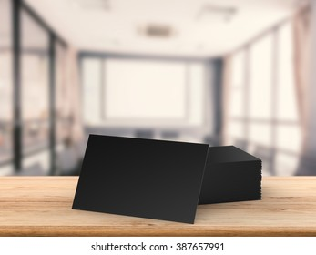 black blank namecard on wooden table