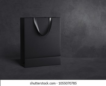 Black blank shopping bag isolated on dark background. 3d rendering