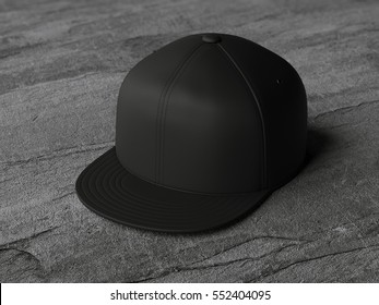 Black blank snapback on the stone floor. 3d rendering