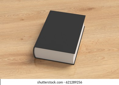 Black blank thick book cover portrait orientation on wooden background with clipping path. 3d render