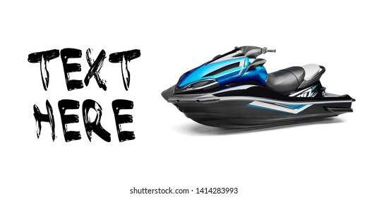 Black and Blue Jet Ski Isolated on White Background. PWC Personal Water Craft Vehicle. Front Side View of Water Scooter. Recreational Watercraft. 3D Rendering