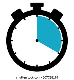 Black and blue Stopwatch icon showing 20 seconds 20 minutes or 4 hours
