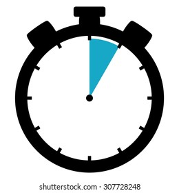 Black and blue Stopwatch icon showing  seconds 5 minutes or 1 hour