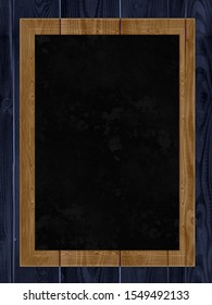 Black board in a wooden frame. Place for an inscription.