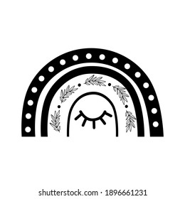 Black boho rainbow shape. Celestial rainbow logo. Baby rainbow element isolated with sleep eye. Bohemian lovely boho celestial print. Doodle rainbow. Boho chic nature silhouette illustration.