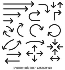Black bold arrows set. Set of icons. Illustration isolated on white background. Raster version