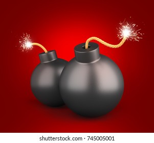 Black Bombs on red background. Business Concept. 3D Illustration