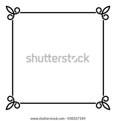black border vintage frame on white background illustration