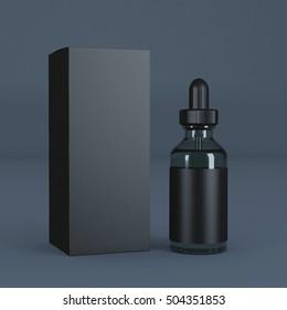Black Bottle Eye Dropper 3d rendering