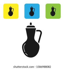 Black Bottle of olive oil icon isolated on white background. Jug with olive oil icon. Set icons colorful square buttons.
