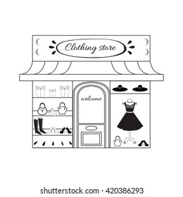 Black boutique icon. Symbol of woman store in graphic design. Fashion clothing store image.