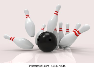 Black Bowling Ball and scattered white skittles isolated on white background. Realistic game set. 3D rendering illustration