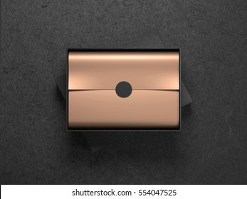 Black Box with Copper Gold wrapping paper and black circle label sticker. Horizontal, 3d rendering