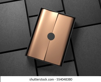 Black Box with Copper Gold wrapping paper and black circle sticker. 3d rendering