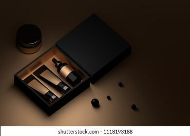 Black box with cosmetic packaging and black perls. Facial cream bottles inside a box. Branding packaging with blank surfaces. 3D illustration.