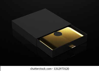 black box with gold details 3d rendering mockup