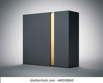 Black box with gold stripe inside in white studio. 3d rendering