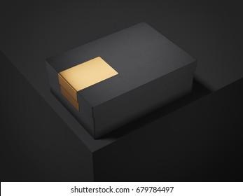 Black box with golden sticker in modern dark studio. 3d rendering