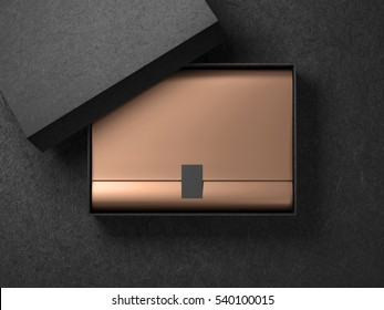 Black Box with Golden wrapping paper and label sticker. Horizontal, 3d rendering