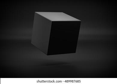 black box levitation on black background 3d rendering