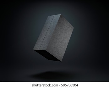 Black Box Mockup on dark background, 3d rendering
