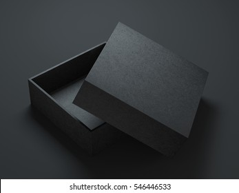Black Box Mockup with opened cover, 3d rendering