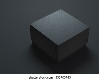 Black Box Mockup with textured cover. 3d rendering