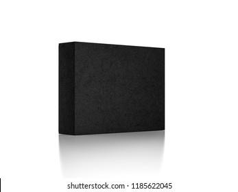 Black Box Mockup in white studio, 3d rendering