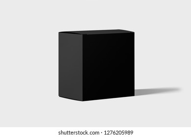 Black Box packaging Mockup in light studio. Place your design.Cardboard Package Box isolated on a white background.3D rendering.