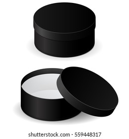 Black box. Round gift box, open and closed. 3d illustration isolated on white background. Raster version.