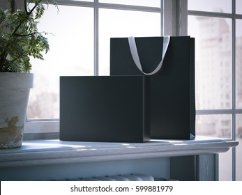 Black box and shopping bag on a wooden window sill. 3d rendering
