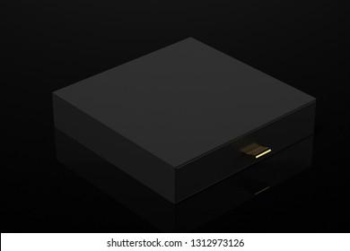 black box sliding with golden details 3d rendering mockup