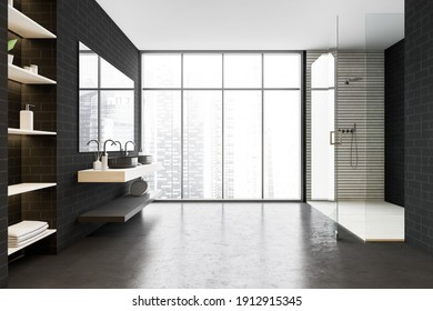 Black brick bathroom with shower, front view, sinks and mirrors near window. Modern design of minimalist bathroom with shelves, 3D rendering no people