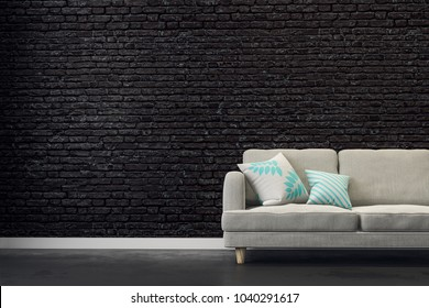 Black brick living room with couch and copy space on wall. Mock up, 3D Rendering