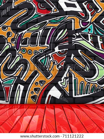 Black Brick Wall Background Graffiti Room Stock Illustration