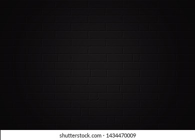 black brick wall background texture or brickwork for design