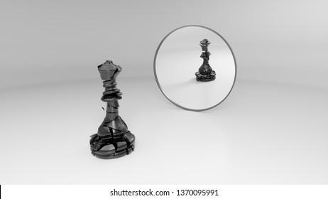 black broken queen sees his broken reflection in the mirror, 3d illustration