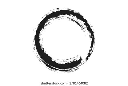 Black brush circle , illustration